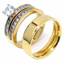 couples ring sets couples ring set womens gold plated 6mm cz ring set mens