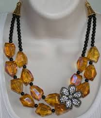 flower necklace wedding images Chunky amber crystal quartz statement by 123gemstones on zibbet jpg