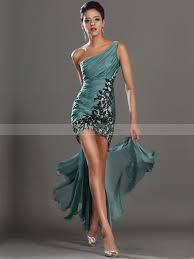 beaded applique one shoulder sheath short cocktail dress with