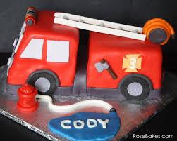 firetruck cake truck birthday cake