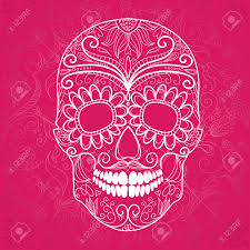 Day Of The Dead White Day Of The Dead Pink And White Skull Royalty Free Cliparts