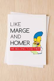 simpsons valentines day card thinking of you card the simpsons anniversary card cheeky