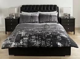 New York Bed Set Black Grey New York City Scape Duvet Cover Bedding Set