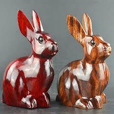 handmade wood carved rabbit figurine ornaments wood decoration