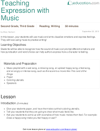 teaching expression with music lesson plan education com