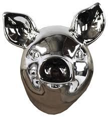 ceramic pig wall decor polished chrome silver contemporary