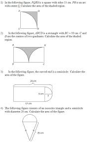 area of figures that include circles worksheets and solutions