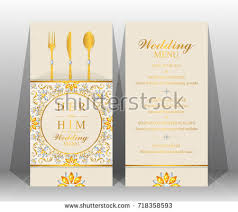 indian wedding menu card templates gold stock vector 718358593