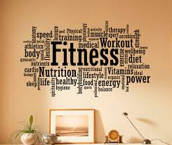 fitness wall decal vinyl stickers sport gym words interior zoom