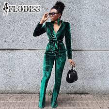 picture of heavy set women in a two piece bathing suit flodiss women elegant green velvet 2 two piece set 2018 winter warm