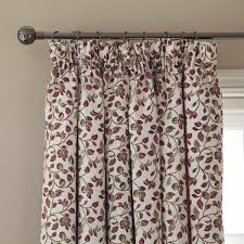 Leaf Design Curtains Clarice Leaf Pencil Pleat Curtains Berry