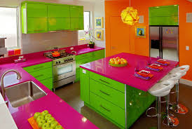 bright accent wall color scheme of modern kitchen design lime