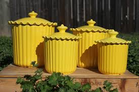Green Kitchen Canisters Yellow Kitchen Cheery Yellow Ceramic Kitchen Canisters Set Of 4