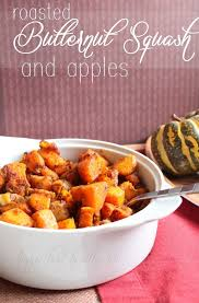 thanksgiving side dish roasted butternut squash apple happy