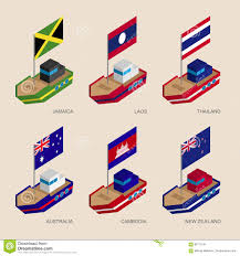 Us Navy Signal Flags Isometric Ships With Flags Cambodia Australia New Zealand Laos
