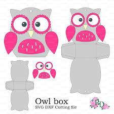 owl paper box template baby shower animals birds от easycutprintpd