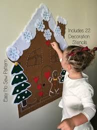 kids christmas activity felt gingerbread house pattern