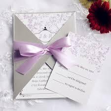 wedding card invitation pink and gray pocket ribbon wedding invitations ewpi090 as