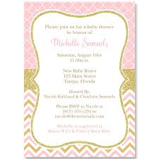 chevron quatrefoil pink and gold baby shower invitation the
