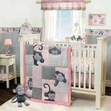 Pink And Gray Crib Bedding Sets 3 Pink Gray Monkey Crib Bedding Set From Bedtime