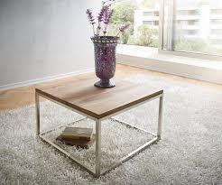 Wohnzimmertisch Uhr Couchtisch Tatius 60x60cm Sheesham Natur Edelstahl Möbel Tische