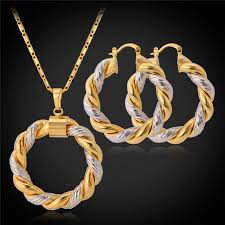 tone gold necklace images 2018 2015 two tone gold necklace set platinum 18k real gold plated jpg