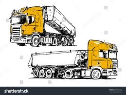 semitrailer dump truck sketch isolated on stock vector 558911233