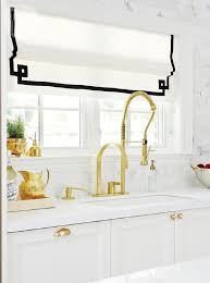 white pull kitchen faucet white and gold kitchen with black accents transitional kitchen