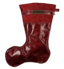 stylish leather christmas stocking in ruby red color copper