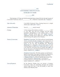 Term Sheet Template Convertible Note Financing Term Sheet