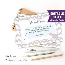thank you notes for baby shower editable chevron thank you notes printable baby shower cards