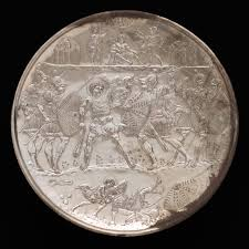 plate with the battle of david and goliath work of art