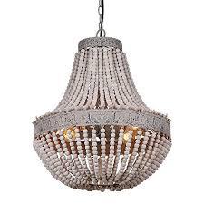 wood bead ceiling light anmytek metal and circular wood bead chandelier pendant three lights