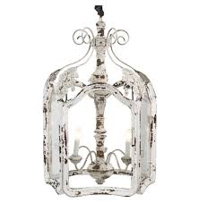 Shabby Chic White Chandelier Amelie White Wash Shabby Chic Country Lantern Pendant Kathy Kuo Home