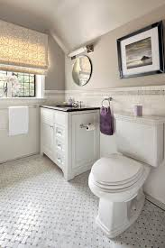 black and white floor tile patterns bathroom transitional with