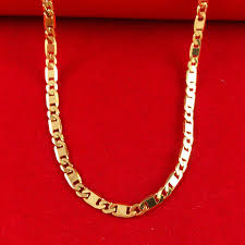 fashion jewelry gold necklace images New fashion vacuum plating 24k gold women men 46 50cm necklace jpg