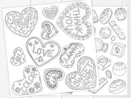 cookies u0026 chocolates coloring pages printable sweet valentine