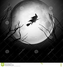 witch halloween background halloween background with witch flying in the sky stock vector