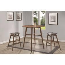 modern bar tables and stools 3 pc round walnut mid century modern bar table set 101435 savvy