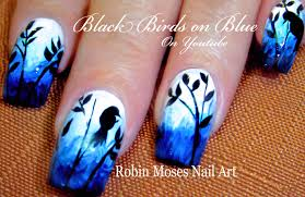 bird nails diy birds on blue nail art design tutorial youtube