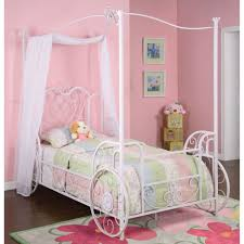 Wrought Iron Canopy Bed Pink Wall Paint In Elegance Kids Bedroom With White Polished