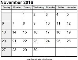 free november 2016 printable calendar word excel pdf blank calendar
