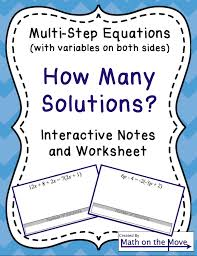 Multi Equations With Variables On Both Sides Worksheet Equations Variables On Both Sides How Many Solutions Notes
