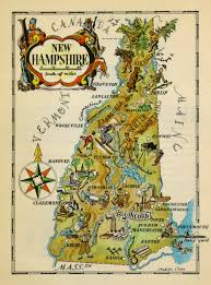 New Map Of The United States by Vintage Pictorial Map Of New Hampshire By Jacques Lizou In 1946