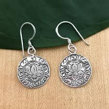 thailand earrings lotus bloom earrings sterling silver thailand women s peace