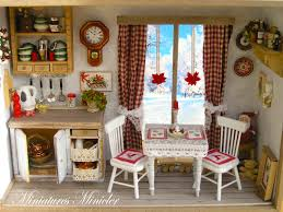 Kitchen Dollhouse Furniture by Miniature Dollhouse Christmas Kitchen Roombox With The French