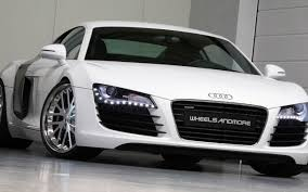 audi sports car audi r8 v10 spyder tuning white sport car in the garage
