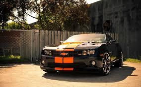 chevy camaro car black with orange stripes chevy camaro awesome cars