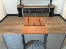 Modern Industrial Desk Handmade Modern Industrial Desk With Custom Leather Signature Pad