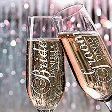 Customized Wedding Gift Amazon Com Set Of 2 Personalized Wedding Toast Champagne Flutes